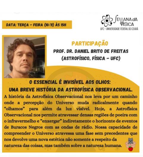 DERMEVAL CARNEIRO convida para Semana da Física com DANIEL BRITO de FREITAS (10/nov/2020)