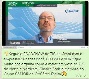 Charles Boris, CEO da Lanlink e do Grupo Gestor do IRACEMA Digital, no Roadshow de TIC