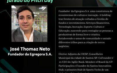 THOMAZ NETO, Fundador da EGREGORA, deu importante contribuição à II Escola de Verão em IA, participando ativamente do PITCH de startups coordenado pelos super craques KLEISOM SABINO & STENIO DINIZ