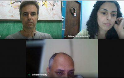 Começa a movimentação com a reunião de alinhamento com o coordenador da III Escola de Inverno Sam Faraday, a vice-coordenadora Tatiane Betat e Silvio Ramos
